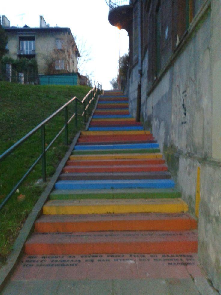 Colorful Stairs with words of wisdom #stairs #streetart #krakow #wisdom