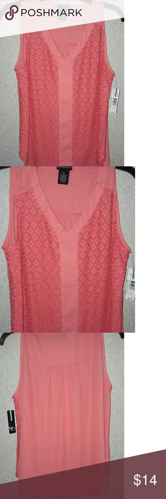 NWT NEW DIRECTIONS CORAL BLOUSE XL SLEEVELESS BLOUSE ..SUPER CUTE AND LIGHTWEIGHT ..BRAND NEW WITH TAGS New Directions Tops Blouses
