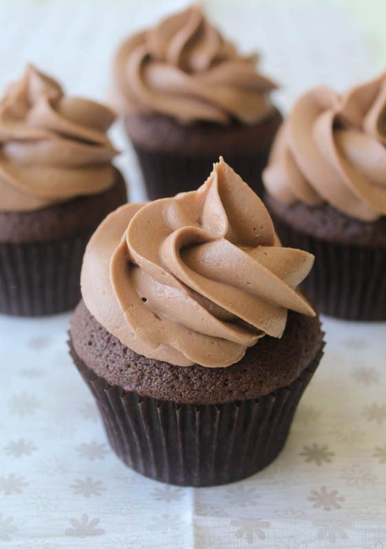 Chocolate Cupcakes with Nutella Buttercream - OMG Chocolate Desserts