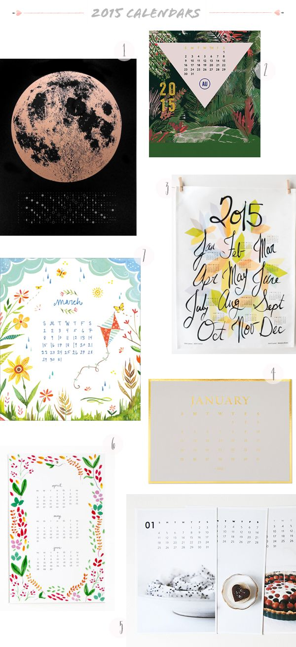 2015 Calendars and Calendar Round Up: http://ohsobeautifulpaper.com/2014/11/seasonal-stationery-2015-calendars-part-2/ | 1. A Little Lark; 2. Ferme a Papier; 3. Avril Loreti; 4. Sugar Paper Los Angeles; 5. Whimsy & Spice; 6. Paper Lovely; 7. Katie Daisy | Click through for full links and resources!