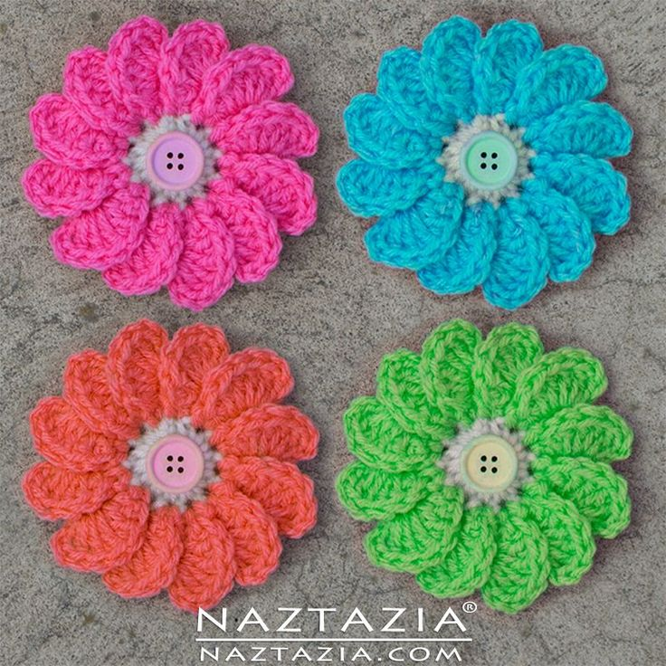 Crochet Flowing Flower - DIY Free Pattern and YouTube Tutorial - Multi Petal Flowers - by Donna Wolfe from Naztazia