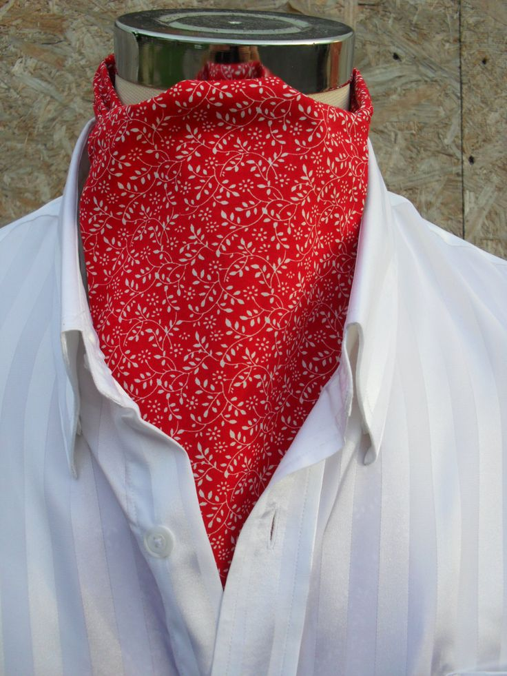 Red Cravat with tiny white leaves. Red and white cravat. Item No. LDC0266 by…