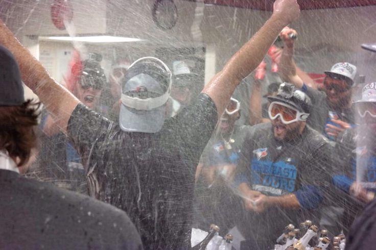 The Toronto Blue Jays celebrate clinching the AL East
