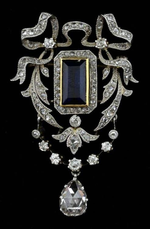 Edwardian sapphire diamond brooch | Expensive | Edwardian
