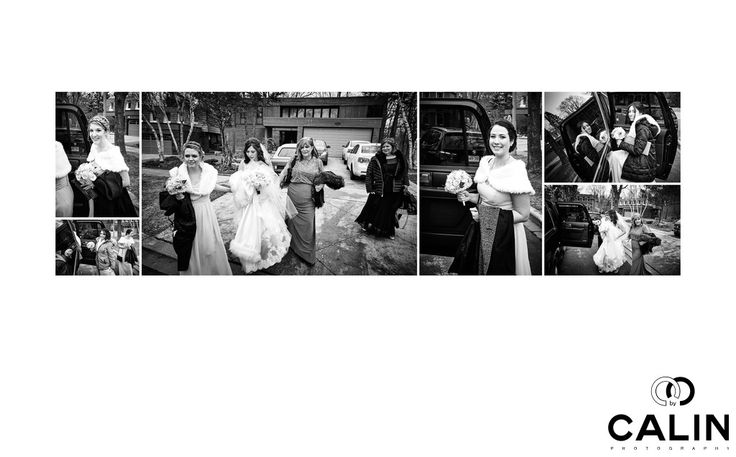 Toronto Wedding Photographer - bride-heading-to-berkeley-church: For photo journalistic moments, there is nothing better than a black and white rendition of the image.&nbsp,    In this album page, all the bridesmaids, bride, mother of the bride as well as her mother in law are hopping in a limo that takes them to the first where the bride and groom decided they wanted to have the first look.  . Location:  315 Queen St E, Toronto, ON M5A 1S7.
