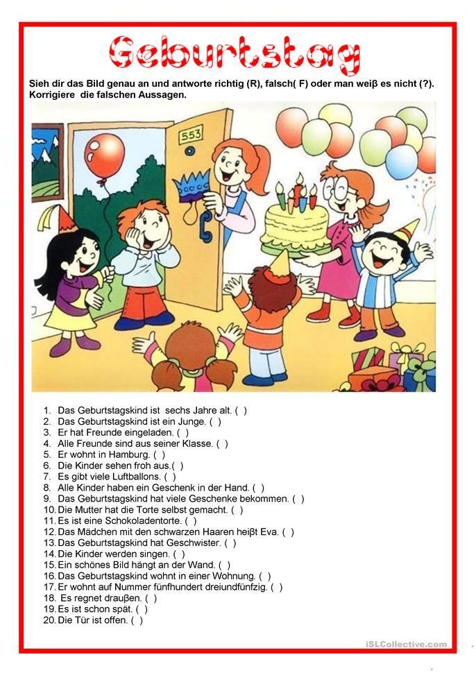 Bildbeschreibung Geburtstag Franzosisch Lernen Daf Lehrer Und