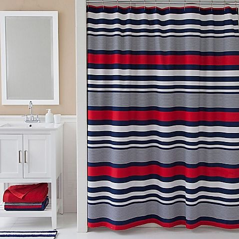 Complete your bathroom's look with the clean lines of the Izod Varsity Stripe Shower Curtain. Featuring horizontal stripes in a stylish blue, red, and white colorway, this cotton-blend shower curtain brings a contemporary vibe to your décor.