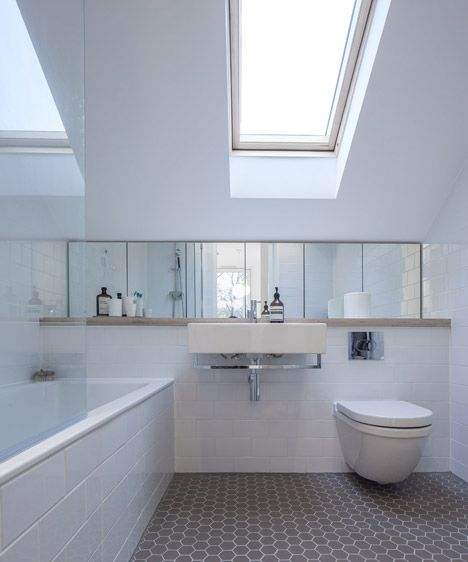 like a sink and loo and shelf like this one - with different colour floor & walls. Nice skylight too.