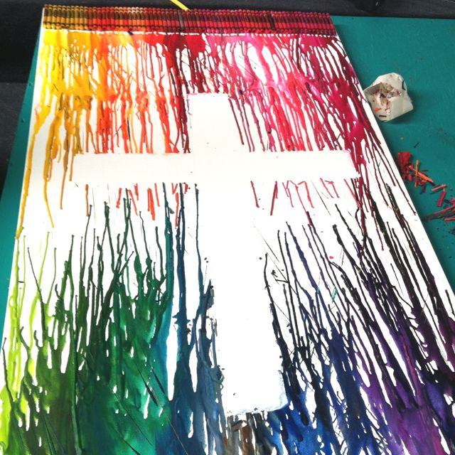Melted crayon art cross for the youth room! Could have some youth kids make it?