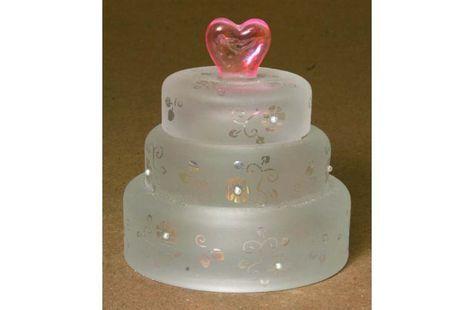 Wedding Cake Glass Trinket Box