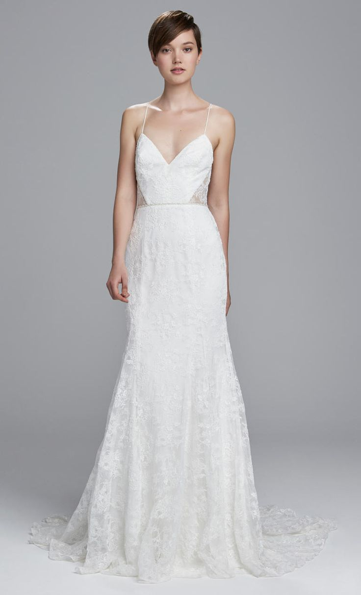 Fit and flare gown with deep v-neck and spaghetti straps | Christos Spring 2017 | https://www.theknot.com/content/christos-wedding-dresses-bridal-fashion-week-spring-2017