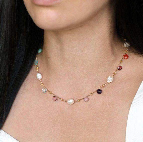Multi Gemstone Necklace Blue Gemstone Drop Necklace Gold Filled Iolite Blue Topaz Aqua Blue Necklace Rainbow Necklace Apatite Necklace