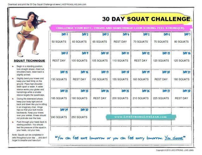 30 Day Squat Challenge calendar