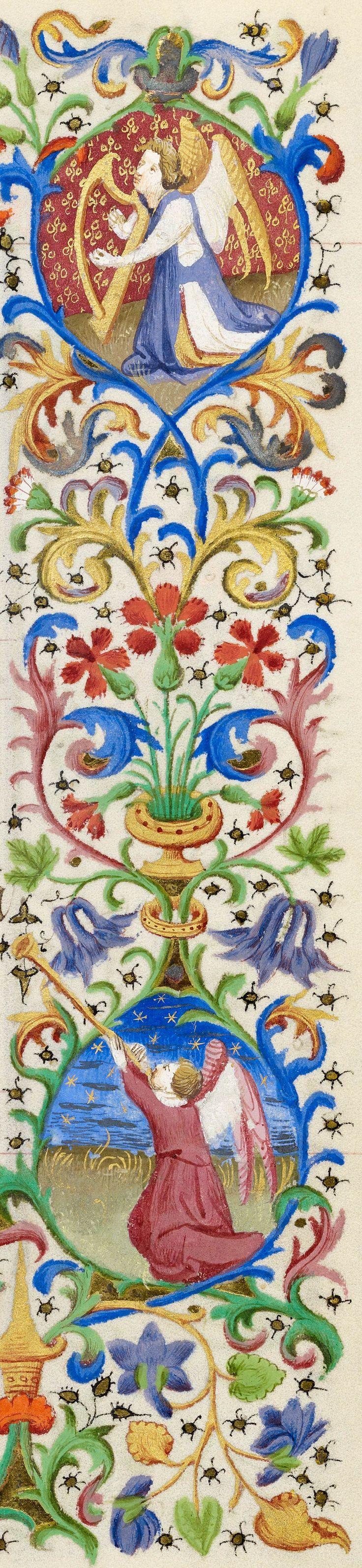 Kneeling angel playing harp (top) & Kneeling angel blowing straight trumpet (bottom) | Book of Hours | ca. 1425-1430 | The Morgan Library & Museum