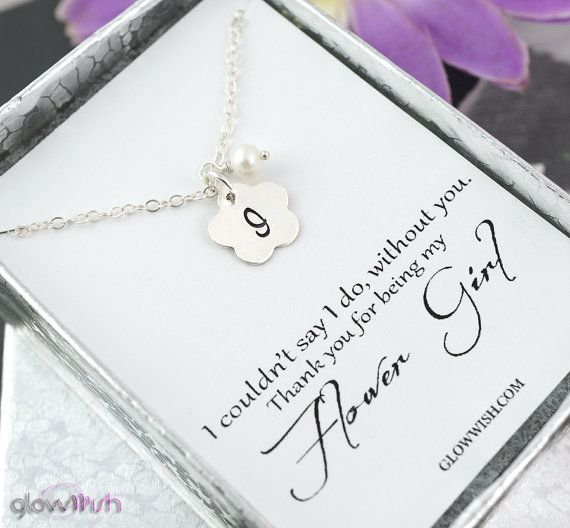 Flower girl thank you card with initial necklace by GlowWish2