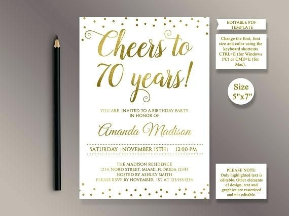 Editable Birthday Party Invitation Template Cheers To 70th Sample