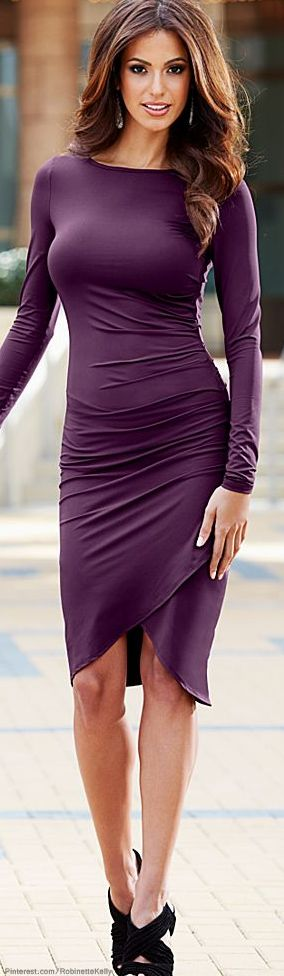 Fall - Love this Dark Purple Surplice hem Dress. Also like the hair length and color. #wdspublishing