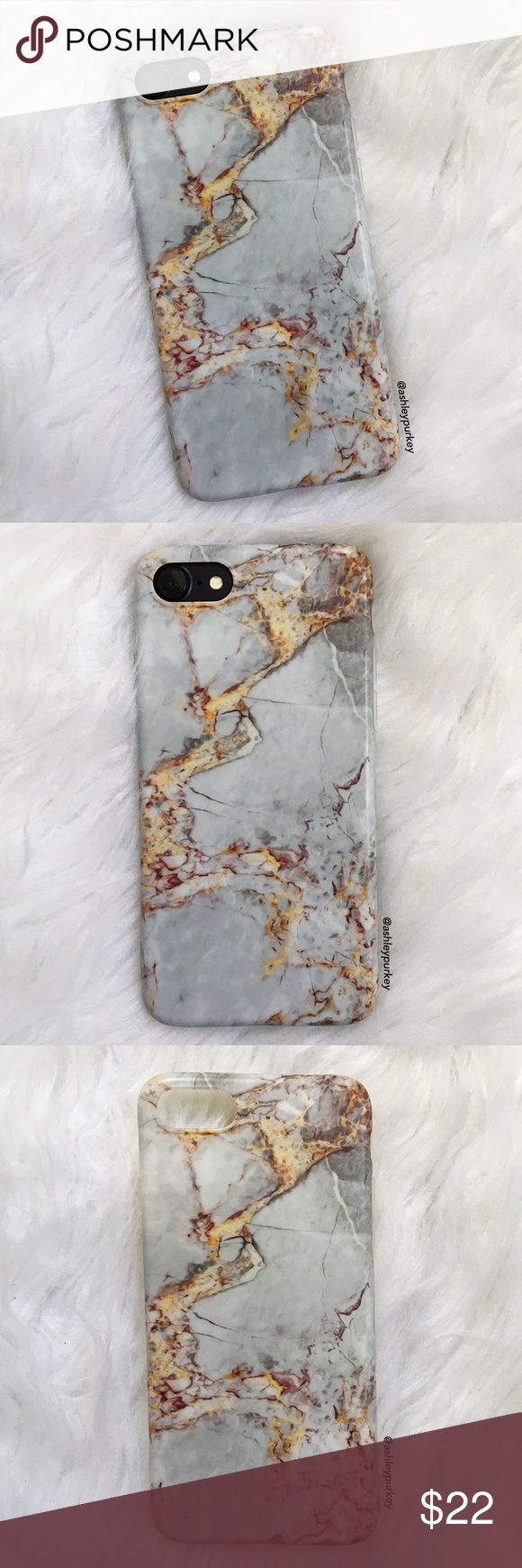 """gray gold cracked marble iPhone 6/6s 7 phone case sizes: iPhone 6/6s (4.7"""") iPhone 7 (4.7"""")  •flexible silicone   •phone not included   •no trades    *please make sure you purchase the correct size case. i am not responsible if you purchase the wrong size  item #: 101 B-Long Boutique  Accessories Phone Cases"""