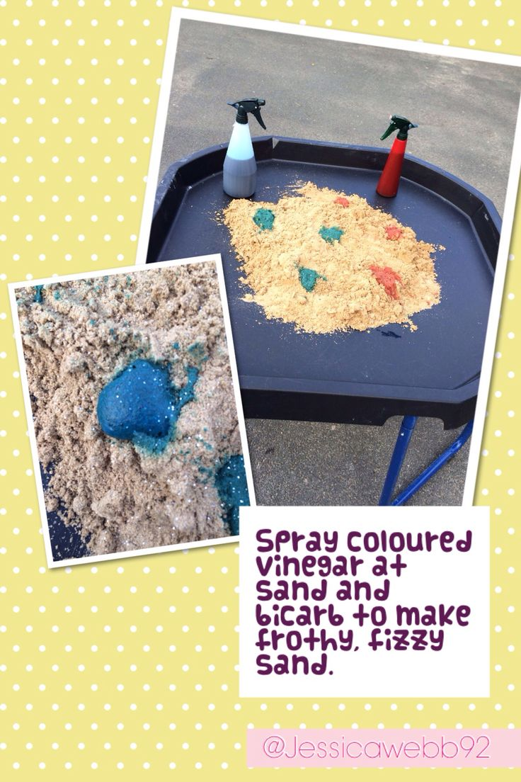 Magic sand! Sand and bicarb mixed together. Spray mixture of vinegar and food colouring on the sand and it fizzes. EYFS