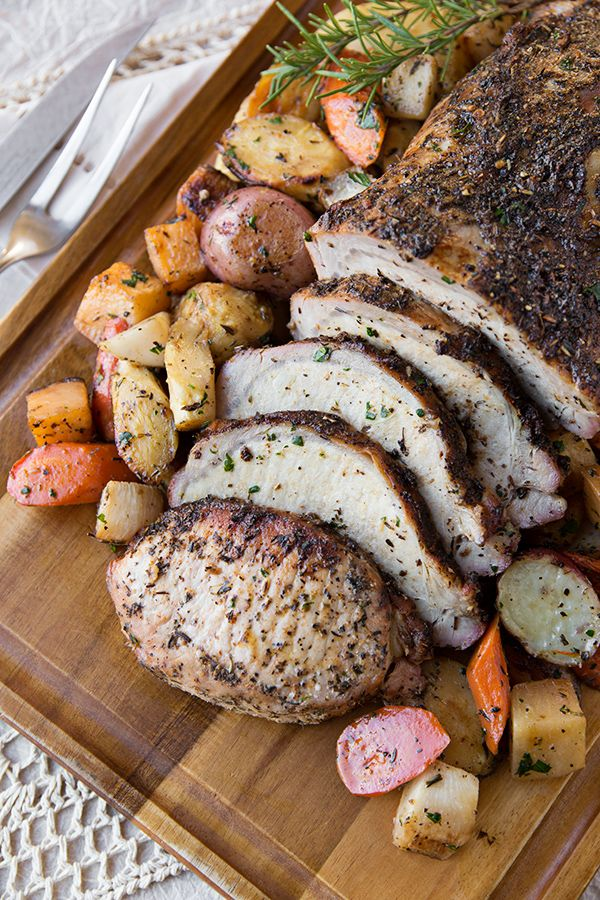 Garlic-Crusted Pork Loin With Glazed Winter Vegetables / by The Cozy Apron
