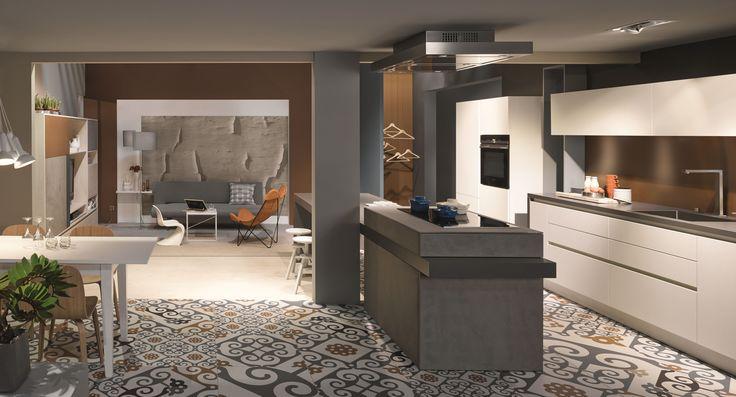 kh küche beton grau  weiss struktur  ahorn kh kitchen