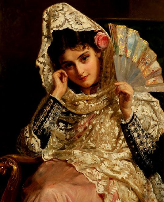 Woman in dressy mantilla with a fan depicted by the artist John Bagnold Burgess