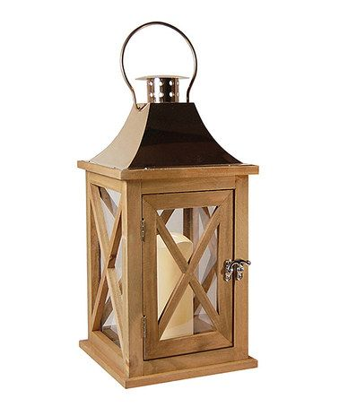 Natural Wood & Copper Lantern & LED Candle #zulily #zulilyfinds
