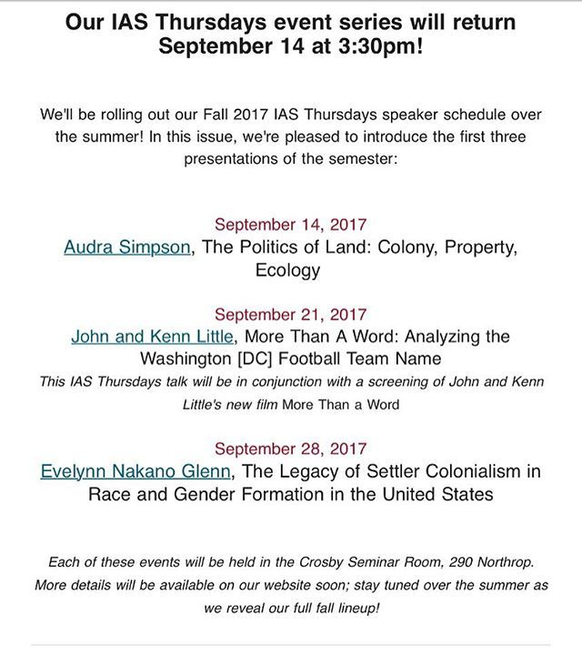 """""""We'll be doing a presentation featuring @joymariehamilton at the Institute of Advanced Studies on the University of Minnesota campus - September 21st. After the discussion, we'll be screening More Than A Word in the Humphrey Theater. We'll announce more details and times as we get them! #morethanaword #documentary #screening #institute #advancedstudies #announcement #notyourmascot #changethename #presenter #presentation #thursday #thursdaymotivation #tbt #future #events #minnesota…"""