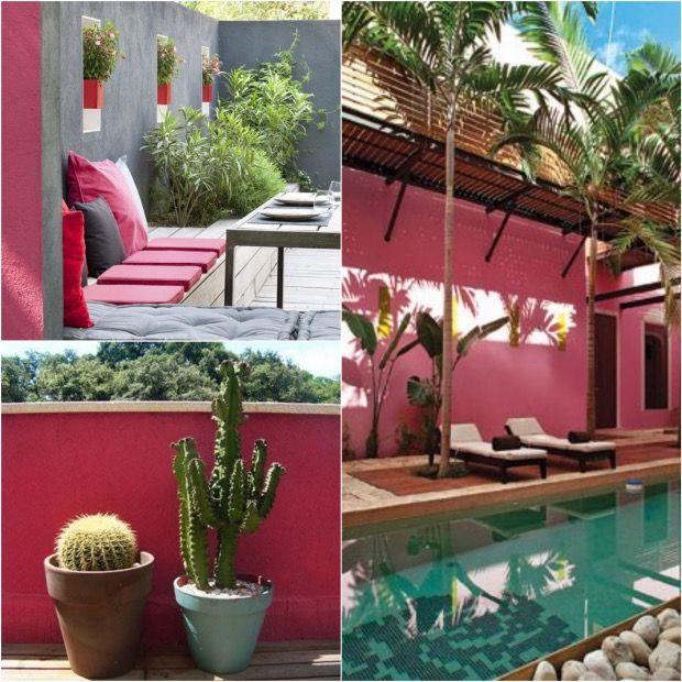 peindre mur exterieur déco rose bonbon gris piscine terrasse cour