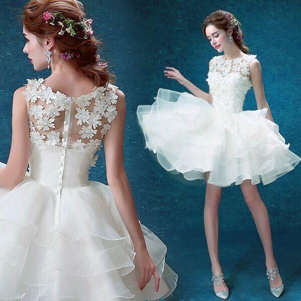 Womens Short Mini Princess Dress White Cocktail Lace Bridesmaid Gown Evening