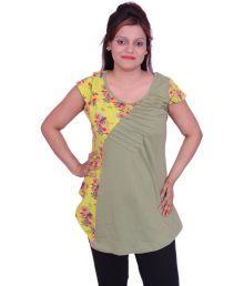 Sepia Green Cap Sleeves Top