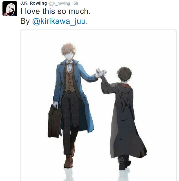 "Photo: ""J.K. Rowling: @kirikawa_juu Thank you for that beautiful painting. It really moved me! They're [Newt and Harry] two characters that mean so much to me."""
