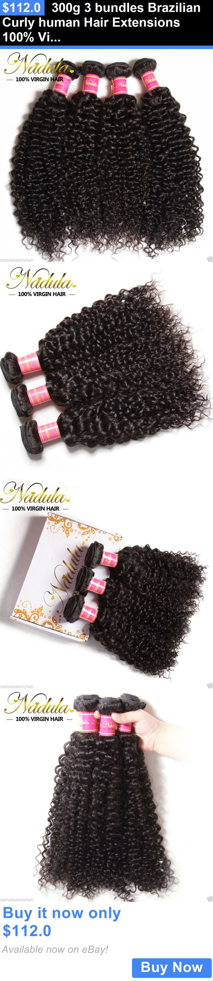 Hair Extensions: 300G 3 Bundles Brazilian Curly Human Hair Extensions 100% Virgin Hair Weave Weft BUY IT NOW ONLY: $112.0
