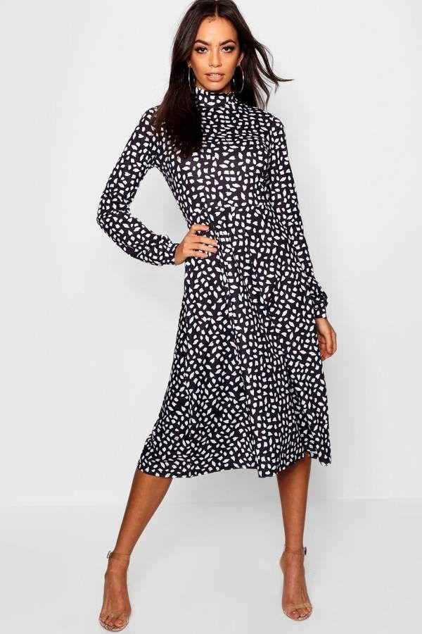 c978eec4b6c5 boohoo High Neck Long Sleeve Dalmatian Print Midi Dress | boohoo Day ...