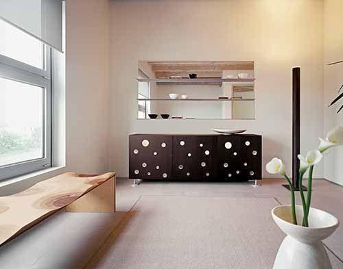 În proiectarea Polka Dots, Toyo Ito a plasat metacrilate multiple, insertii circulare în dezordine aparentă pe uși, în contrast evident cu structurile stricte și minimaliste ale acestei piese de mobilier. Această idee grafica este o reminiscență a teatrului Za-Koenji din Tokyo, de asemenea, proiectat de marele arhitect. Inserțiile reprezintă, ca numele în sine, o multitudine de puncte care par să zboare ușor în sus, luminile interioare creand o faza magica de lumini si umbre. Dimensiuni…