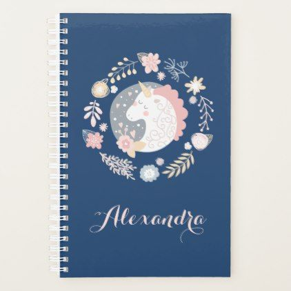 Happy Unicorn Blush & Navy Personalized Planner  $23.70  by LiveLoveGive  - cyo customize personalize unique diy idea