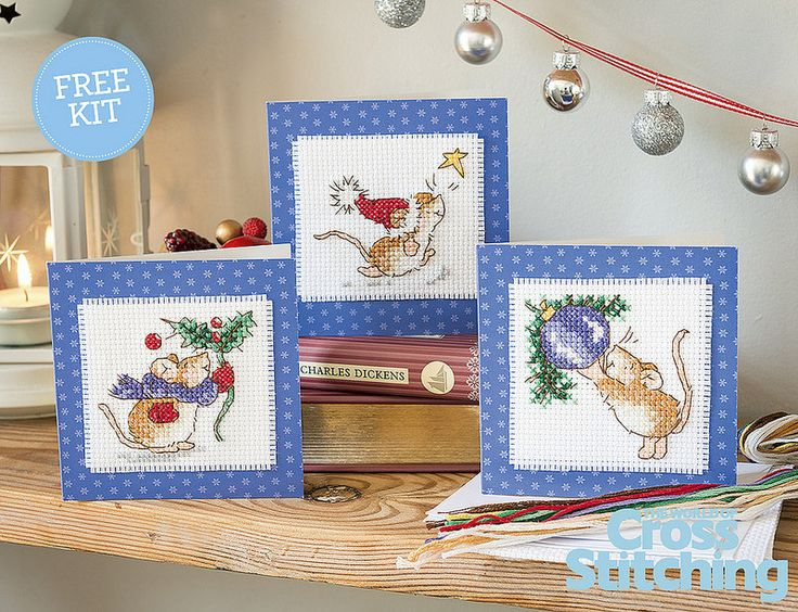 THREE-in-ONE gift pack – Cute Christmas cards to stitch today. This month's fab freebie is an adorable stitch kit pack, starring Margaret Sherry's exclusive mice designs – make these sweeties now for your loved ones! The FAB FREE GIFT with issue 220 print edition of The World of Cross Stitching magazine, out now!