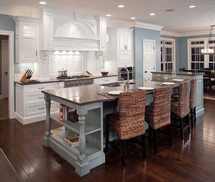 Formal White Kitchen With Blue Island   Mullet Cabinet   Traditional    Kitchen   Cleveland   By Mullet Cabinet