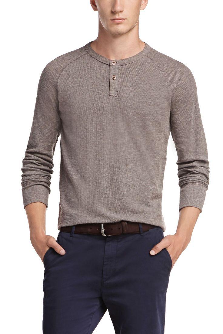 'Trucker' | Cotton Slub Henley Shirt, Light Grey | Hugo Boss