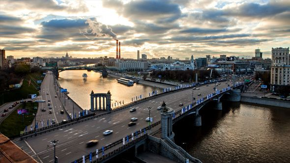 Evening on Moscow River by Vah_vmg view on Kiev railway station and surroundings Borodino bridge, Moscow River, Heat Electric Station, University, The shopping cent