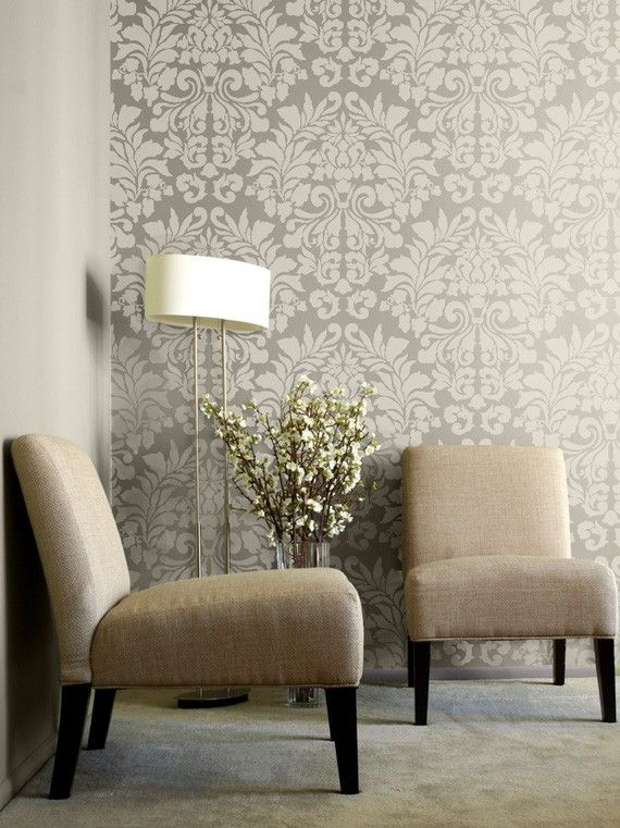 Large Wall Stencil Fabric Damask Allover Stencil for Easy DIY Wallpaper Decor. $49.00, via Etsy.