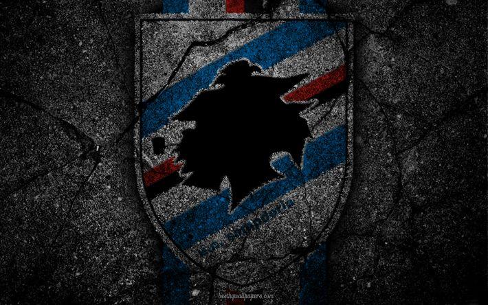 Descargar fondos de pantalla La Sampdoria, logotipo, del arte, de la Serie a, fútbol, club de fútbol de la UC Sampdoria, asfalto textura