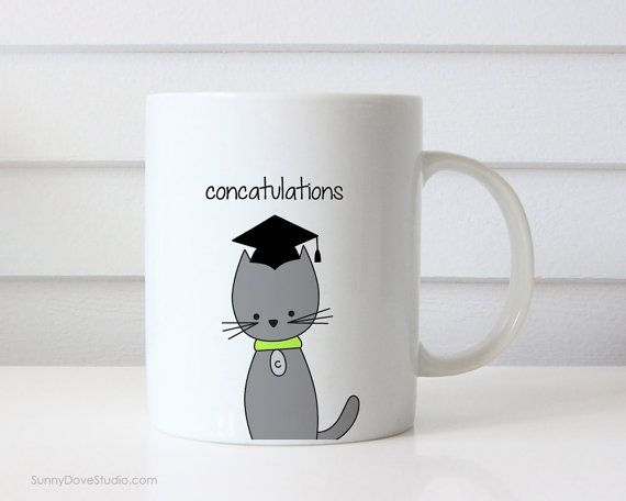 Funny Coffee Mug Graduation Congratulations Congrats Grad Pun Cat Concatulations Quote Mugs Cute Fun Graduating Gifts For Her Him Friend  Concatulations. This funny cat mug is the purrfect graduation congrats gift for a friend, sister, brother, niece, nephew, the cat lover, pun lover in your life...and makes for a sweet companion to any daily coffee routine!  Design is printed on both the front and back so its cute face can be seen no matter which way the mug is held!  • 11 oz ceramic mug •…