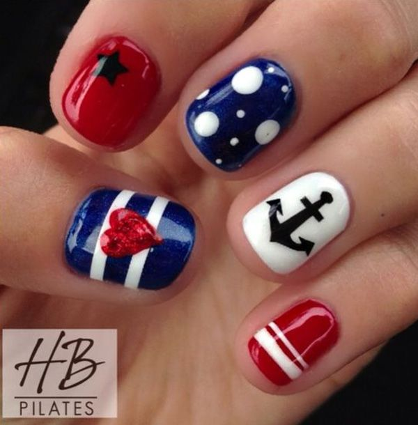 Cute stars and stripes for the US flag and some anchors for the accent design. If you find a good nail salon who can help you with this, then it's much better to get their help since the design could be a bit tricky especially when you don't have the tools.