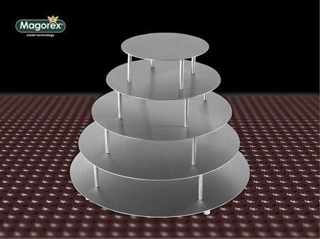MAGOREX stojaki do tortów, szpilkowe ANGOL, ze stali nierdzewnej - talerze okrągłe.