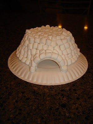 Build a marshmallow igloo or have picture out and let children build what they want with marshmallows