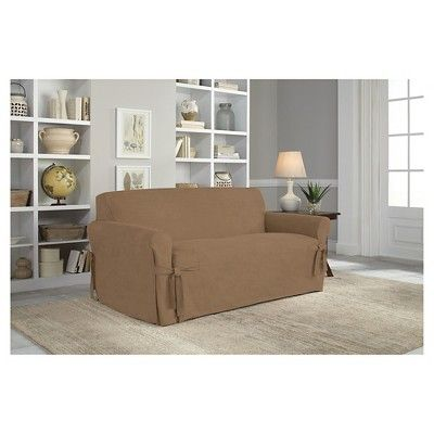 Taupe Brown Relaxed Fit Smooth Suede Furniture Loveseat Slipcover - Serta