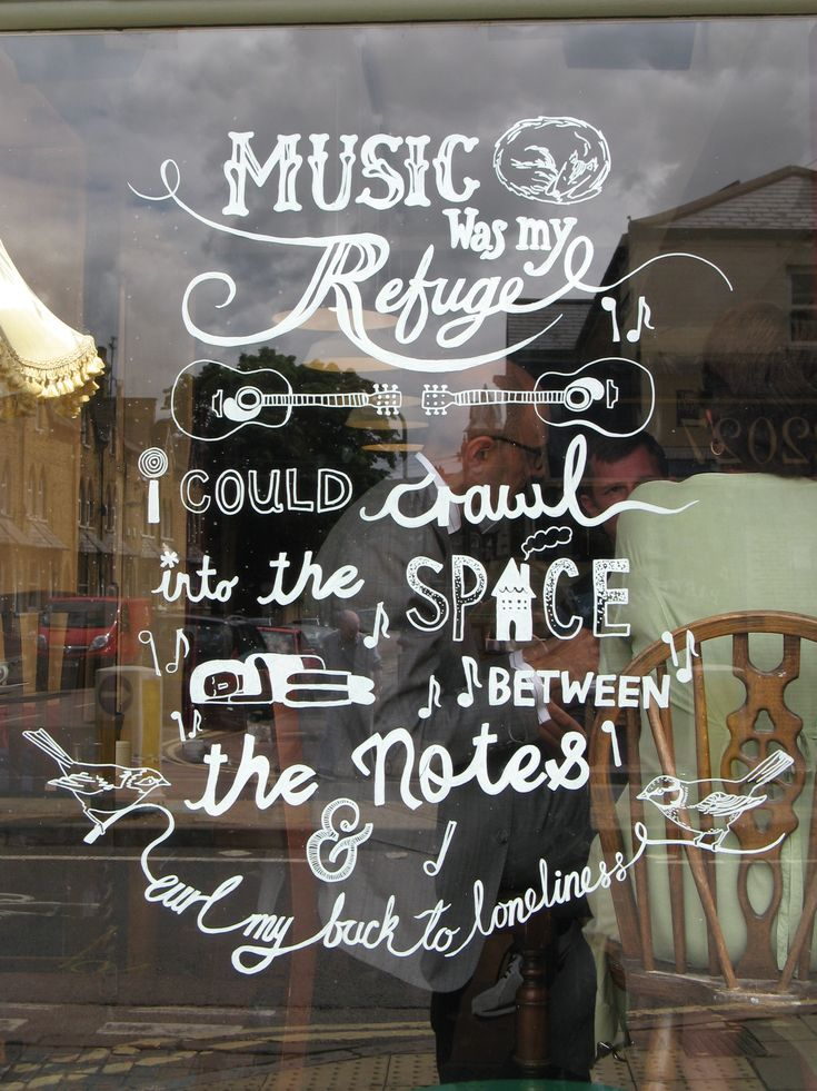 Hand drawn window sign- could have all the food on offer in a fun way like the way the blackboard is that Lavi has done, and also works as a design element. It also then gets rid of the need maybe for the big lit up signs with food shots?