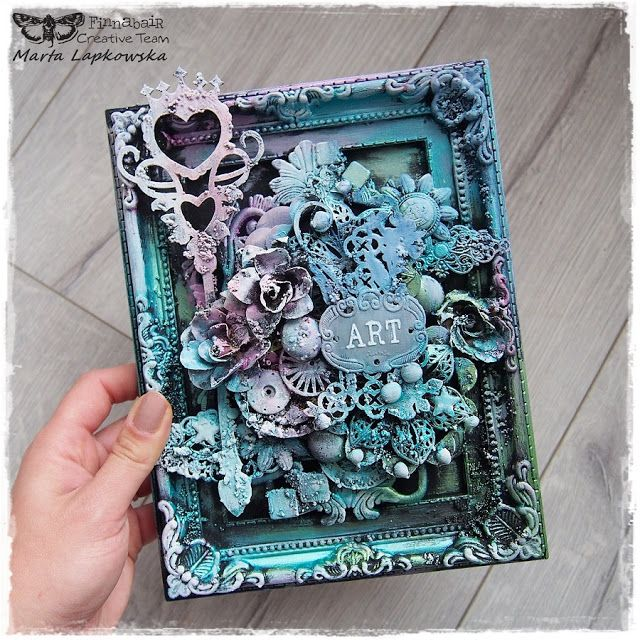 Marta Lapkowska: Black gesso & mixed media tutorial for Finnabair C...