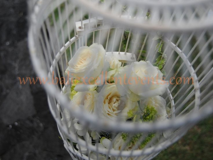 White Birdcage with flower for decor detail